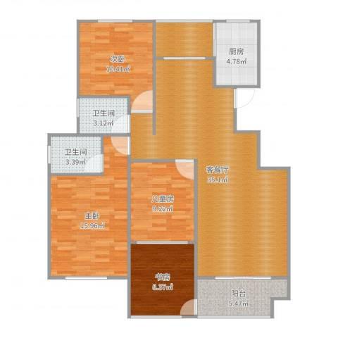 正商红河谷4室2厅2卫1厨124.00㎡户型图