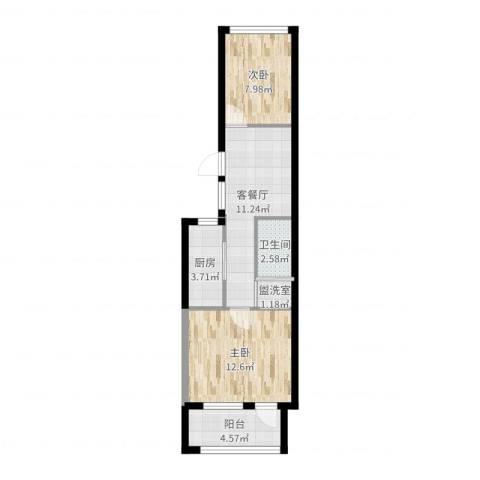 西革新里2室4厅1卫1厨43.87㎡户型图