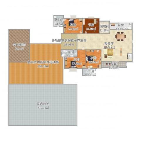 景湖蓝郡别墅4室2厅3卫1厨1026.00㎡户型图