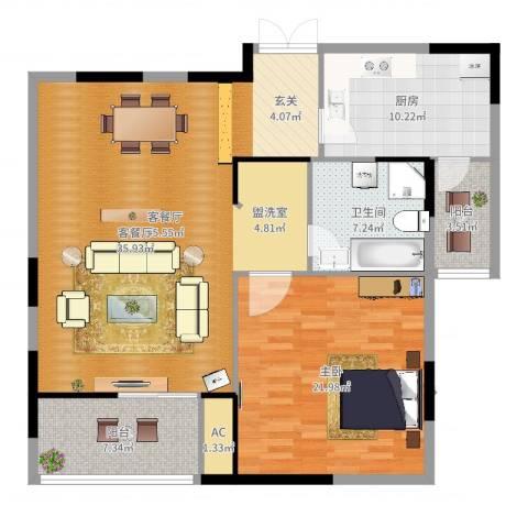 半岛名墅洋房1室2厅1卫1厨121.00㎡户型图