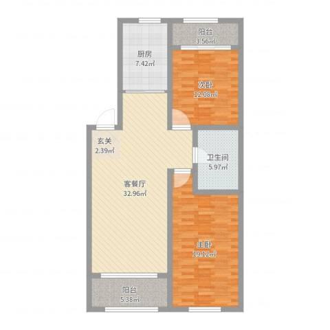 和苑2室2厅1卫1厨108.00㎡户型图