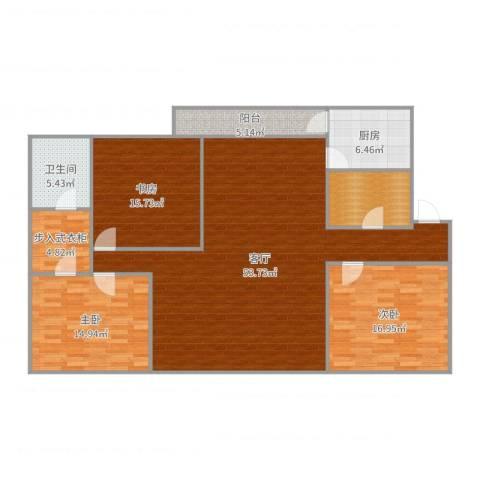 明湖花园3室1厅1卫1厨161.00㎡户型图