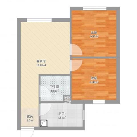佳和雅庭2室2厅1卫1厨52.00㎡户型图