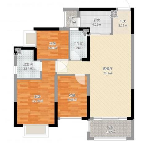 君华新城3室2厅2卫1厨90.00㎡户型图