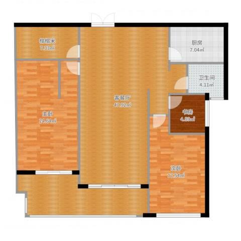 高教公寓3室2厅1卫1厨128.76㎡户型图
