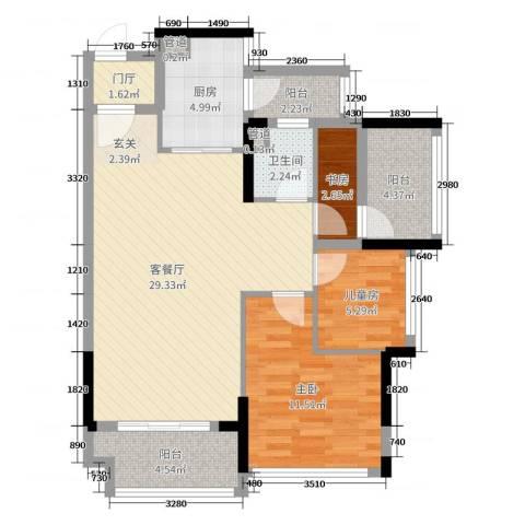 招商金山谷3室2厅1卫1厨88.00㎡户型图
