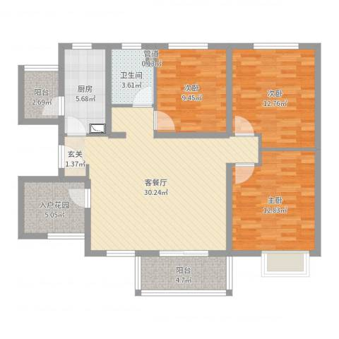 世纪之门3室2厅1卫1厨109.00㎡户型图