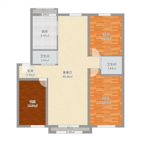 耀江五月花苑3室2厅2卫1厨133.00㎡户型图