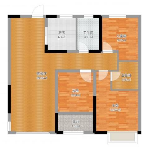 观湖壹号3室2厅2卫1厨114.00㎡户型图