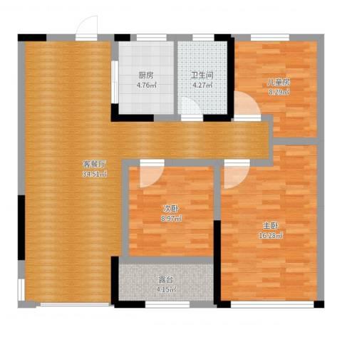 观湖壹号3室2厅1卫1厨102.00㎡户型图