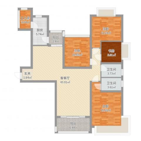 恒大绿洲4室2厅2卫1厨140.00㎡户型图