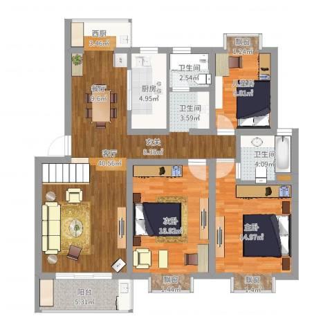 金陵世纪花园3室1厅2卫1厨123.00㎡户型图