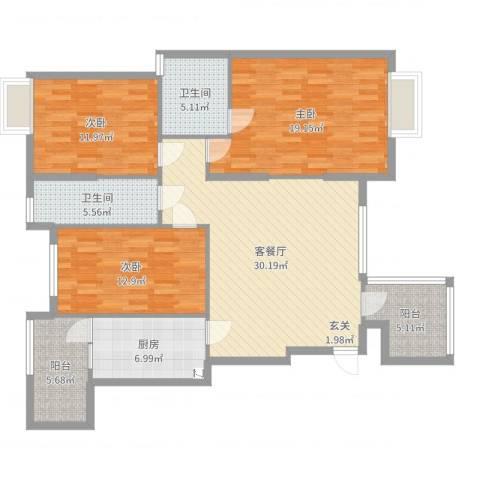盛世家园武汉市武昌区3室2厅2卫1厨128.00㎡户型图