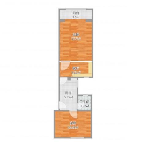 长虹小区2室1厅1卫1厨51.00㎡户型图