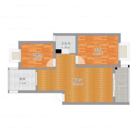三湘盛世花园2室2厅1卫1厨93.00㎡户型图