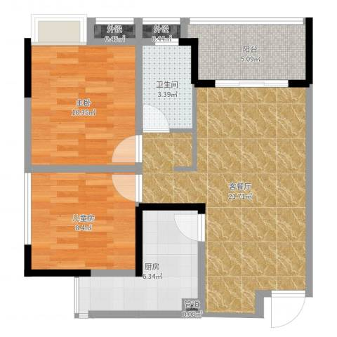 海德格调2室2厅1卫1厨70.00㎡户型图