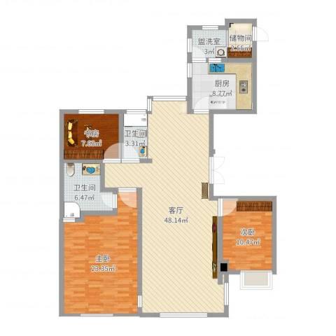 ART蓝山3室3厅3卫1厨142.00㎡户型图