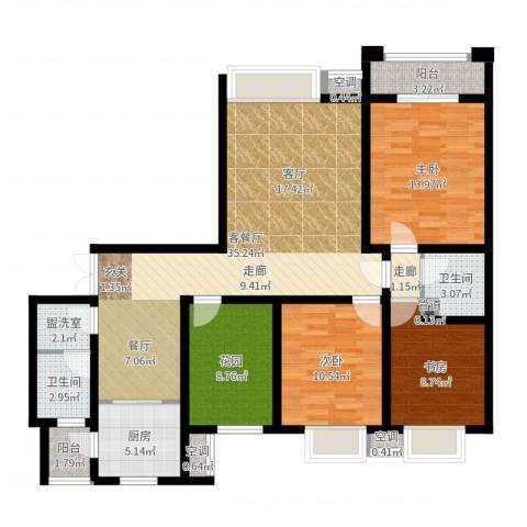 鼎盛国际3室2厅2卫1厨123.00㎡户型图