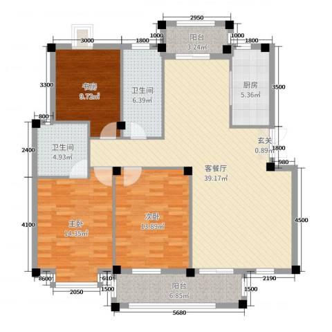 豪润花园3室2厅2卫1厨125.00㎡户型图