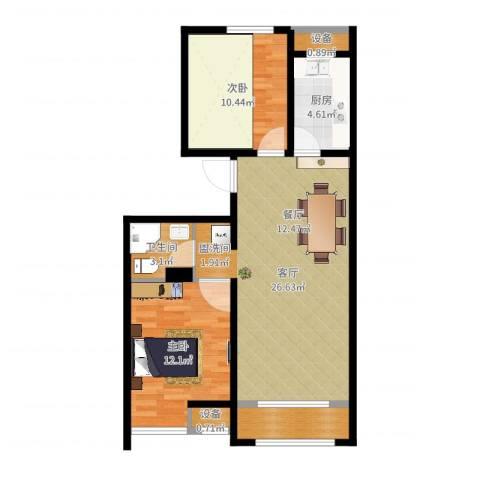 戴河海公园2室1厅1卫1厨77.00㎡户型图