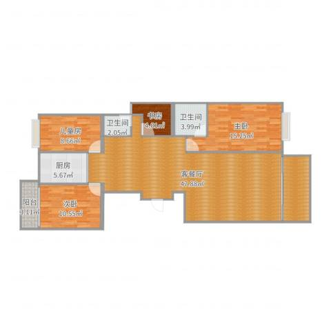 金丰花园4室2厅2卫1厨135.00㎡户型图