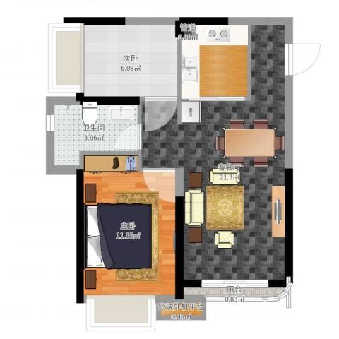 三亚・一山湖2室2厅2卫1厨60.00㎡户型图
