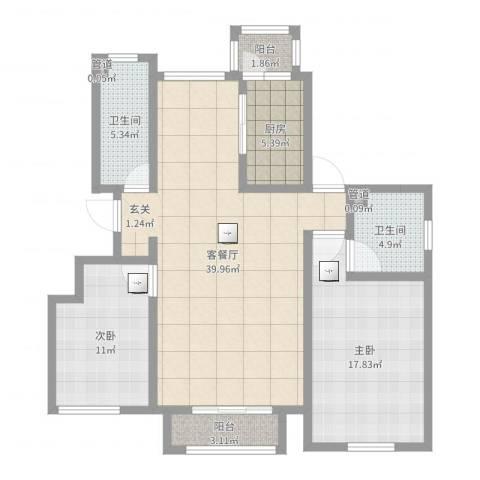 泛海拉菲庄园2室2厅2卫1厨112.00㎡户型图