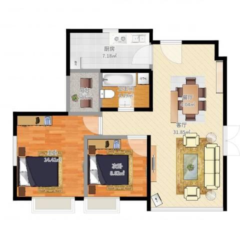 沈阳天地2室1厅1卫1厨86.00㎡户型图