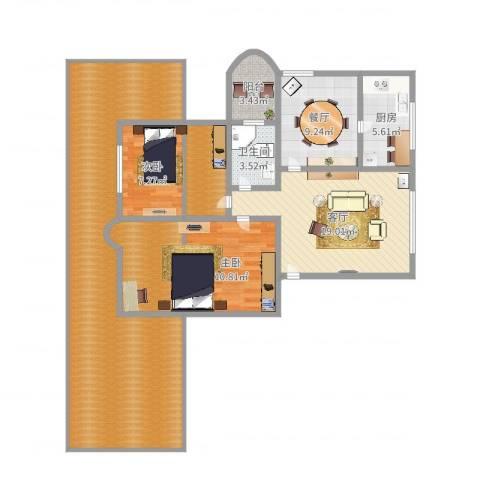 上浦小区2室2厅1卫1厨140.00㎡户型图