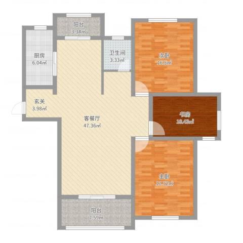 海韵嘉园3室2厅1卫1厨140.00㎡户型图
