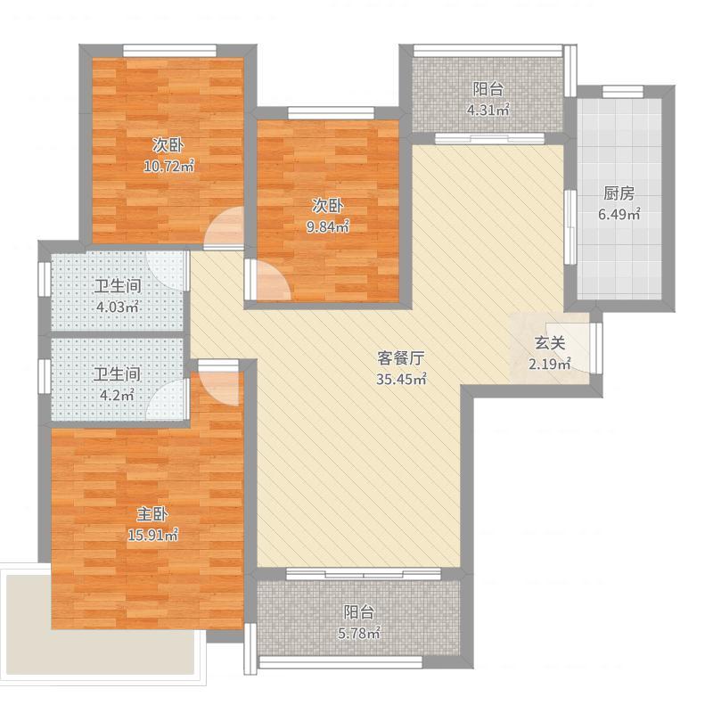 恒大城136.40㎡10#1单元01户型3室2厅2卫1厨-副本户型图