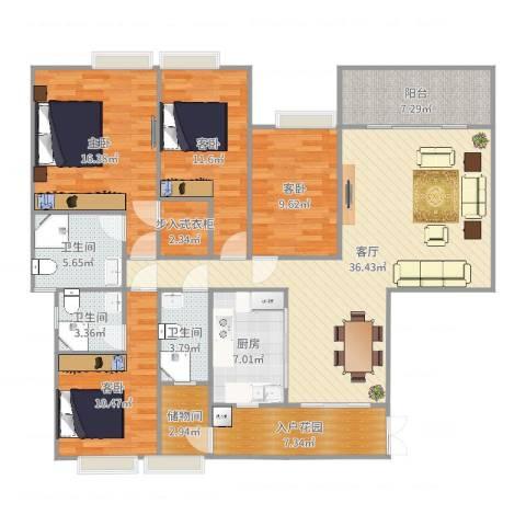 虎门一号4室1厅3卫1厨155.00㎡户型图