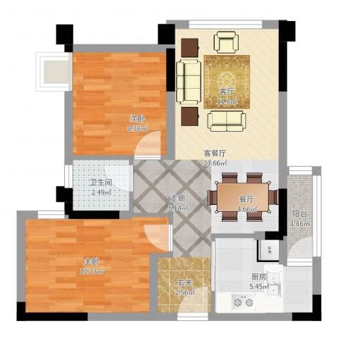合能璞丽2室2厅1卫1厨66.00㎡户型图