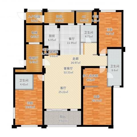 中企御品湾3室2厅3卫1厨215.00㎡户型图