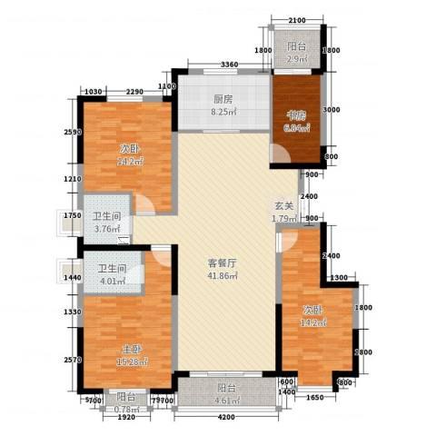 就掌灯4室2厅2卫1厨153.00㎡户型图