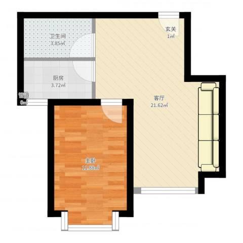 广顺现代城1室1厅1卫1厨51.00㎡户型图