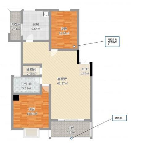 奕翠园二期2室2厅1卫1厨99.59㎡户型图