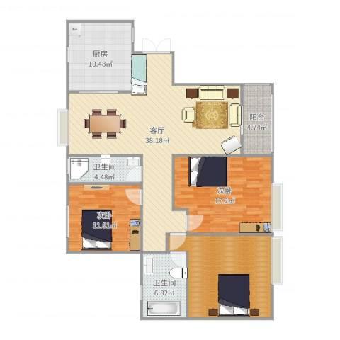 伯爵大地2室1厅2卫1厨139.00㎡户型图