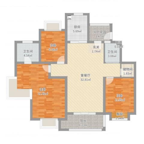 罗马假日3室2厅2卫1厨124.00㎡户型图