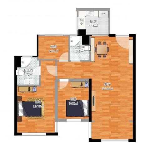 紫荆花园3室1厅2卫1厨104.00㎡户型图