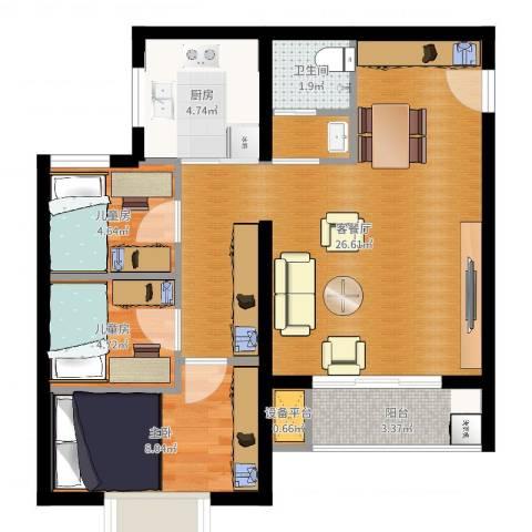 上上城青年社区二期3室2厅1卫1厨70.00㎡户型图