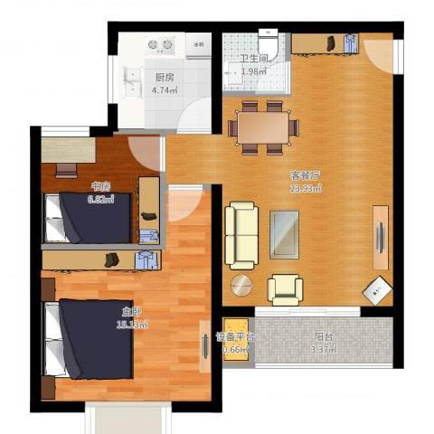 上上城青年社区二期2室2厅1卫1厨71.00㎡户型图