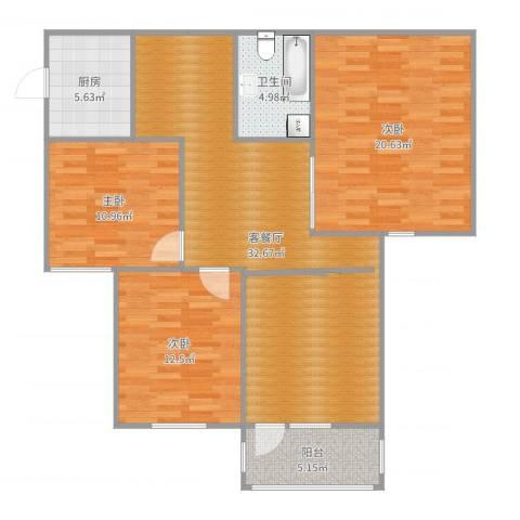 湖玺御墅3室2厅1卫1厨116.00㎡户型图
