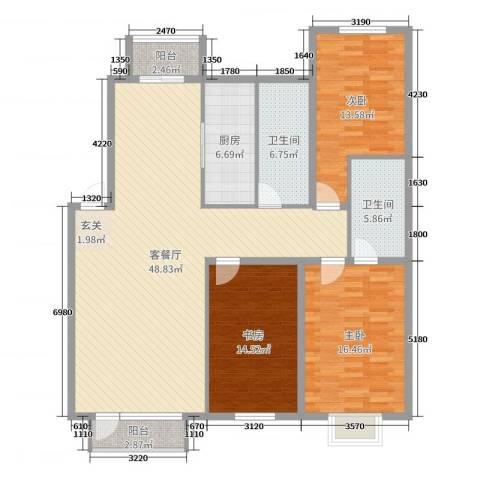 宏运・凤凰新城二期3室2厅2卫1厨124.00㎡户型图
