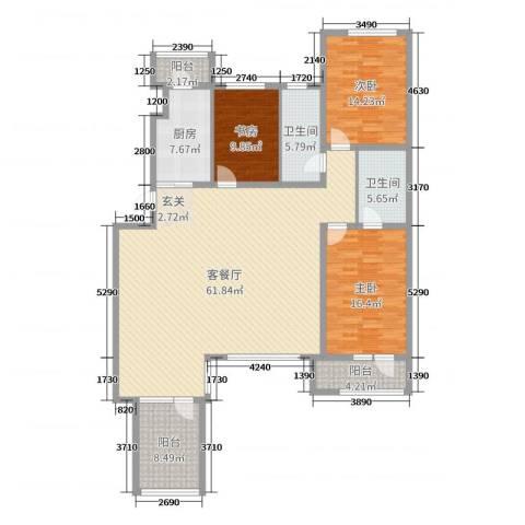 宏运・凤凰新城二期3室2厅2卫1厨142.00㎡户型图