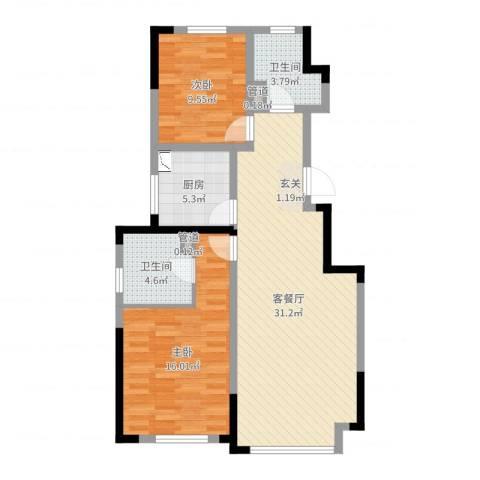 东兴科技大厦2室2厅2卫1厨88.00㎡户型图