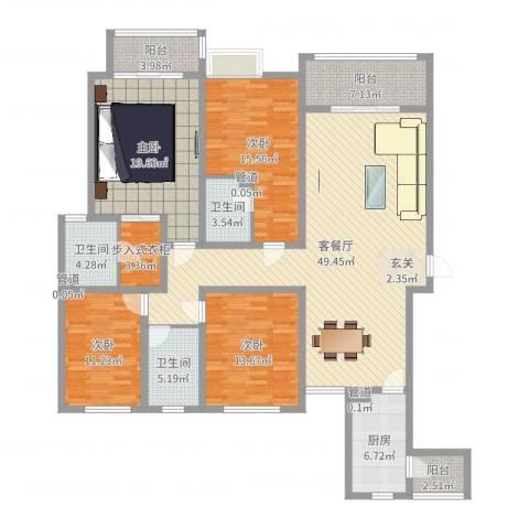 名门华都4室2厅3卫1厨183.00㎡户型图
