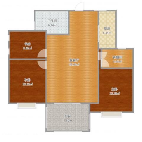 东山国际3室2厅1卫1厨123.00㎡户型图