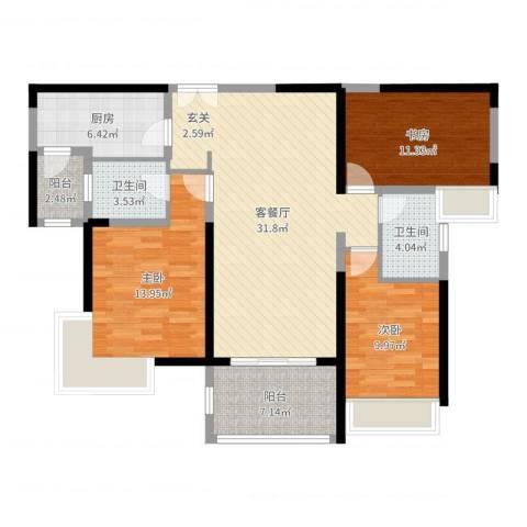 丽宝第花苑3室2厅2卫1厨113.00㎡户型图