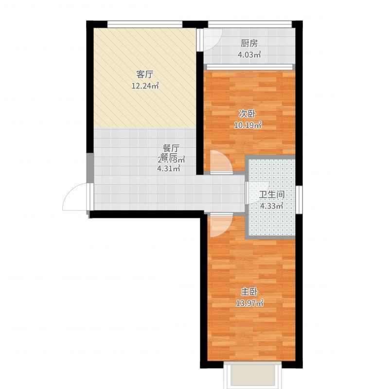 巨华世纪城90.00㎡2区 C户型2室2厅1卫-副本户型图